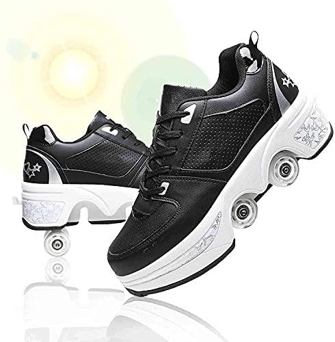 VARADOMO. Damen und Mädchen Rollschuhe Skateboarding Schuhe Kinder Schuhe mit Rädern Skate Schuhe Räder Schuhe Sportschuhe Laufschuhe Turnschuhe mit Rädern Kinder, Black1, EU42