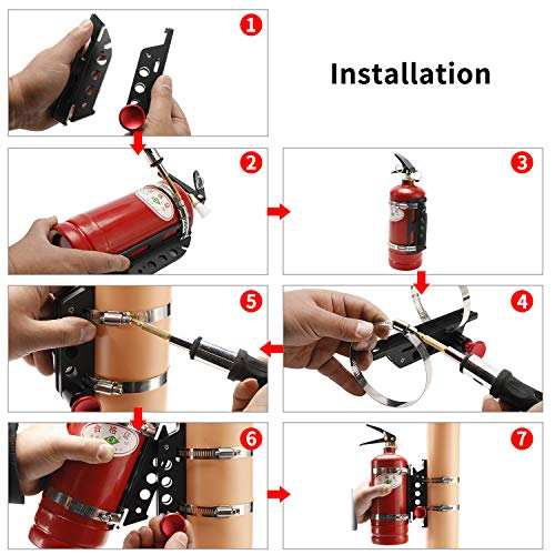 Vehicle Universal Quick Release Aluminum Roll Bar Mount Bottle/Fire Extinguisher Holder with 4 Adjustable Clamps
