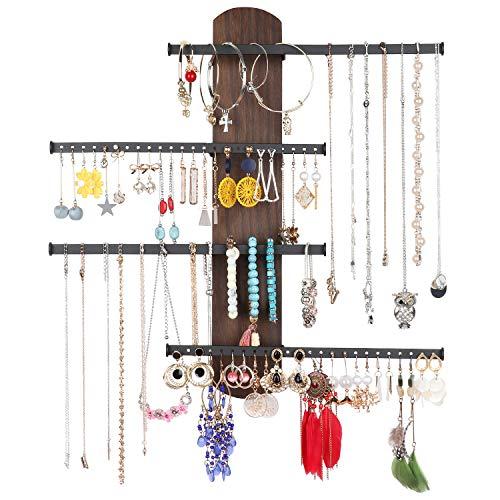 Keebofly Schmuck-Organizer zur Wandmontage, rustikales Holz, mit reichlich Stauraum mit 4 Ebenen für Armbänder, Halsketten, Ohrringe, Ringe (Walnuss)