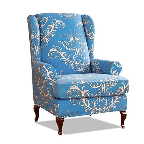 PETCUTE Sesselbezüge Ohrensessel Bezug Stretch Sesselbezug für Ohrenbackensessel Husse Passt Perfek für Ohrensessel mit Muster Blumen Blau