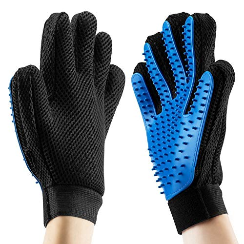 Pet Grooming Glove - Gentle Deshedding Brush Glove - Efficient Pet Hair Remover Mitt - Enhanced Five...