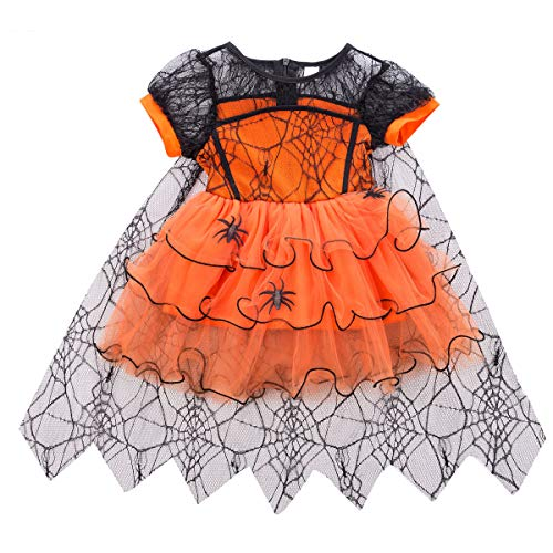 Toddler Baby Girl Halloween Costumes Spider Tulle Tutu Dress Party Ball Gown Dress Lace Cloak Outift Vampire Witch Costume (Orange, 2-3 Years)