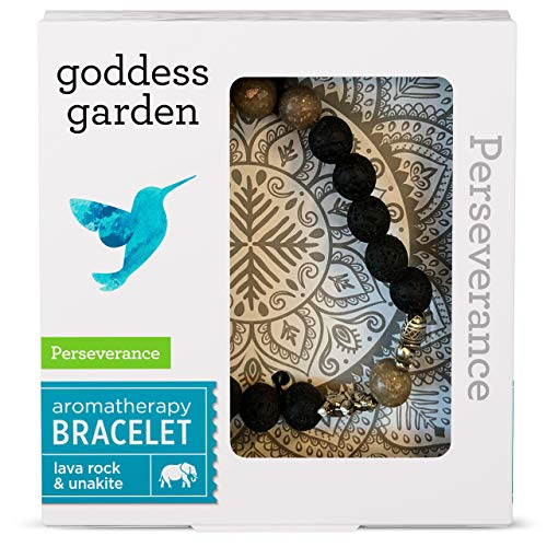 Goddess Garden Perseverance Aromatherapy Bracelet, On-the-Go Essential Oil Diffuser Jewelry, Genuine Stones, Natural Beads, Balancing Lava Rock, Grounding Unakite, Elephant Charms