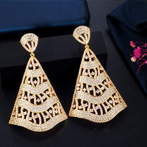 BAJIE Ohrring Mode Übertriebene Atmosphäre Elektrischer Ventilator Gold Tricolor Mit Full Cz Anhänger Ohrringe Geeignet Für Hochzeiten Und Partys für Frauen
