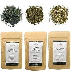 Japanese Green Tea Loose Sample Set Gift Set, Signature Premium Green Tea Japan Sencha Gyokuro Kukicha 3x 20g, Tea Club