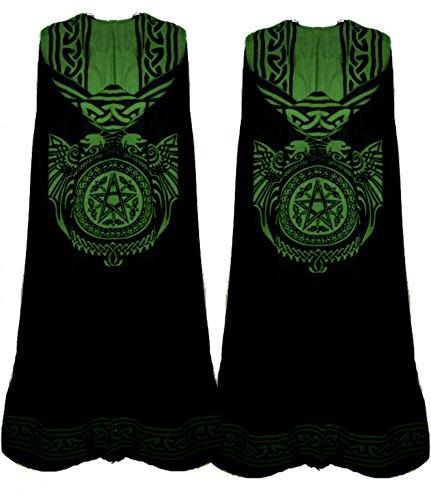 Dark Dreams Mittelalter Gothic Ritual Umhang Celtic Spirit, Größe:freesize;Farbe:schwarz/grün - 3