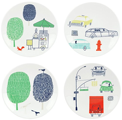 Kate Spade New York Hopscotch Drive About Town 4-Piece Tidbit Plate Set