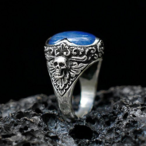 Kyanite Ring Sterling Silver,Handmade Silver Man Ring,Unique Jewelry,free express shipping