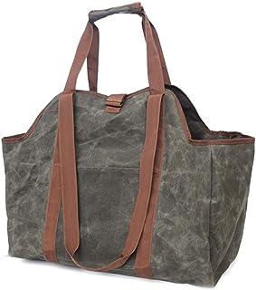 KY&CL Filt vedträ korg, bärbar filtväska förvaring träkorgar shoppingvagn väskor filt förvaringskorg fleranvändningspåsar ...