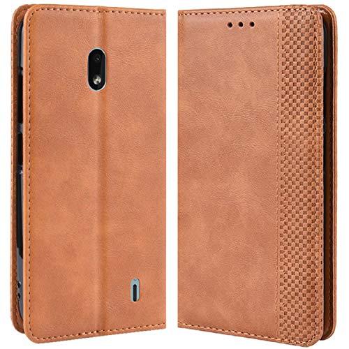 HualuBro Handyhülle für Nokia 2.2 Hülle, Retro Leder Brieftasche Tasche Schutzhülle Handytasche LederHülle Flip Hülle Cover für Nokia 2.2 2019 - Braun