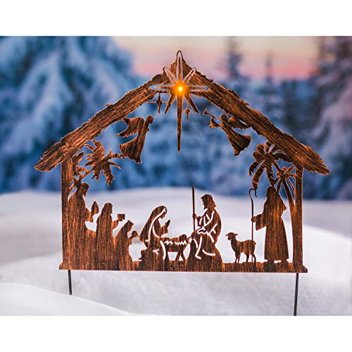 Evergreen Garden Elegant Glowing Metal Solar Illuminated Nativity Stake - 23' Long x 1' Wide x 28' High
