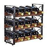 X-cosrack Casier à vin empilable rustique à 3 niveaux Support pour organisateur de 12 bouteilles autoportant Étagère de stockage d'alcool de comptoir Bois massif et fer 16,5 'L x 7,0' L x 16,5 'H
