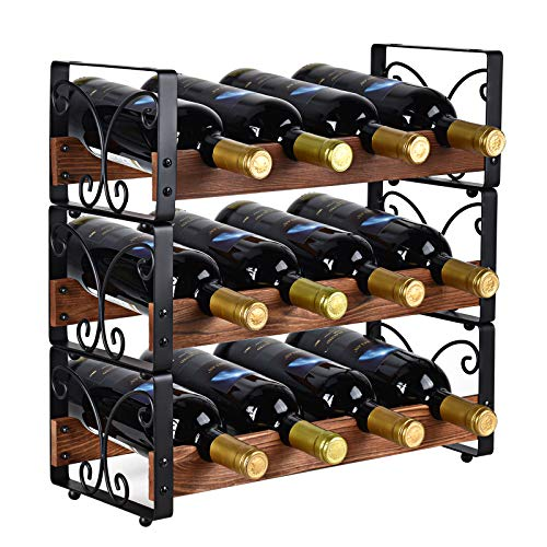 "X-cosrack Rustic 3 Tier Stackable Wine Rack Freestanding 12 Bottles Organizer Holder Stand Countertop Liquor Storage Shelf Solid Wood & Iron 16.5"" L x 7.0"" W x 16.5"" H-Patent Design"