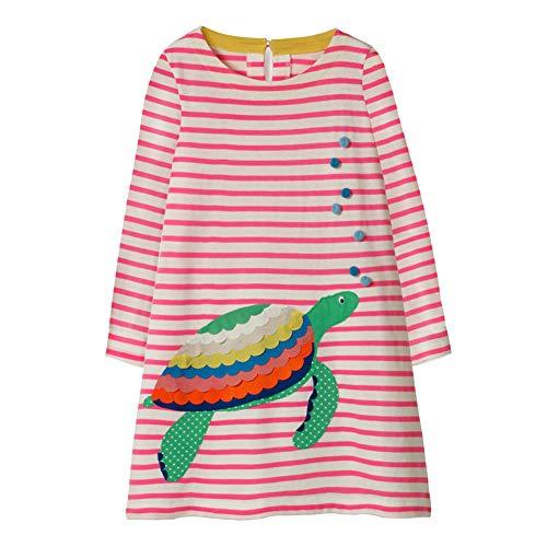 DOTBUY Mädchen Langarm Tiere Cartoon Gestreift Druck Kleider Kinder Shirt Kleidung Prinzessin Kleid,1-6 Jahren (3T(95-100cm), Schildkröte)