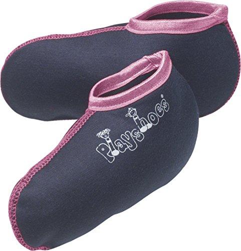 Playshoes Stiefel-Socke Füßling Mädchen, Mehrfarbig (marine/pink), 30-31