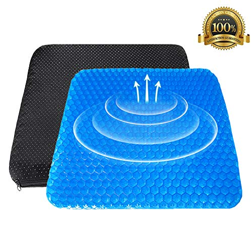 Gel Seat Cushion, Egg Seat Cushion Wheelchair Cushion with Non-Slip Cover, Breathable Chair Pads Honeycomb Design Absorbs Pressure Points for Car Office Chair Wheelchair