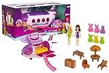 Brandsseller Juego de avión de juguete de viaje, avión de vacaciones, playa, multifuncional, 2 figuras, 20 accesorios, color rosa