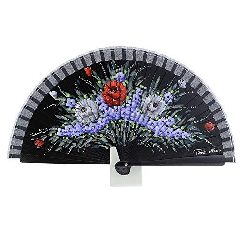 Abanico en Madera Diseño de Flores Artesanal Talla: U Color: NEGRO