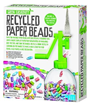 4M Green Creativity Recycled Paper Beads Kit - Arts & Crafts Upcycle Decorative Jewelry Art Gift for Kids & Teens, Boys & Girls