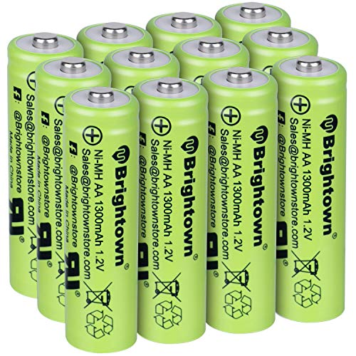 NiMH Rechargeable AA Battery Pack of 12, High Capacity 1300mAh 1.2v Pre-Charged Double A Battery for Solar Lights, Battery String Lights, Radio, TV Remotes, Wireless Mouses, Flashlight