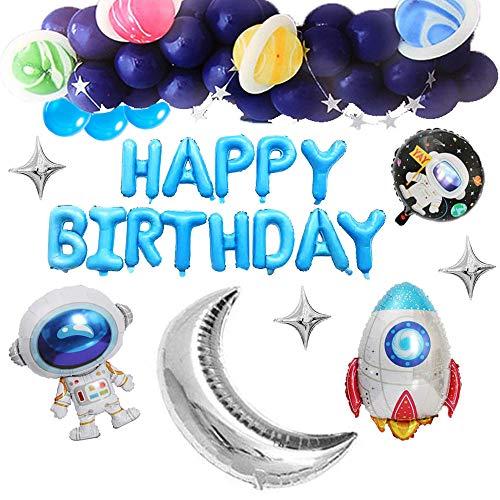 Juego de Fiesta de Cumpleaños Espacial, 57 Piezas Juego de Decoración de Fiesta Espacial, Globos de Papel de Cohete de Astronauta Banner de Feliz Cumpleaños Para Decoraciones de Fiesta de Cumpleaños