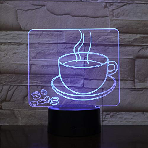 3D Optical Illusion Night Light Coffee Cup,Touch LED Table Desk Lamp 7 Color Changing USB Powered Birthday Holiday Gifts for Children