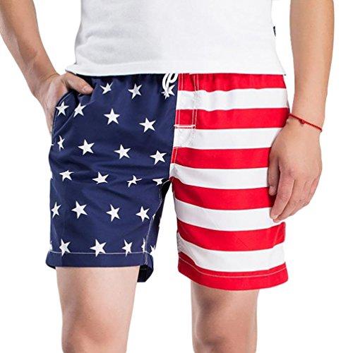 YOUJIA Impresion Pantalones Cortos Leisure Corto Shorts de Playa Surf - Hombres (Blanco, 2XL)