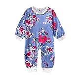 Body de verano para bebé y niña, con estampado de flores, manga larga y piecero, ropa Allence, azul, 100 cm
