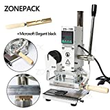 ZONEPACK Digital Embossing Machine with Stamping Letter Hot Foil Stamping Machine Manual Tipper Stamper Heat Press Machine for PVC Leather Pu and Paper Stamping with Paper Holder (Machine with Microsoft Elegant Black) …