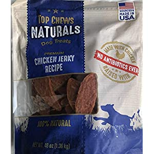 Title – Top Chews 100% Natural Dog Treats Chicken Jerky Recipe 48 OZ (3 LB), Model Number: chicken food