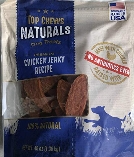 Title - Top Chews 100% Natural Dog Treats Chicken Jerky Recipe 48 OZ (3 LB), Model Number: chicken food