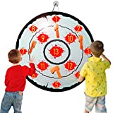 Foam Axe Toss Game Velcro Dart Board for Kids Target Shooting Practice Axe Throwing Set with 4 Sticky Axes 1 Quick-fold Dartboard 1 Score Sheet