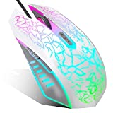 VersionTECH. Wired Gaming Mouse, Ergonomic USB Optical Mouse Mice with Chroma RGB Backlit, 1200 to 3600 DPI for Laptop PC Computer Games & Work – White (Renewed)