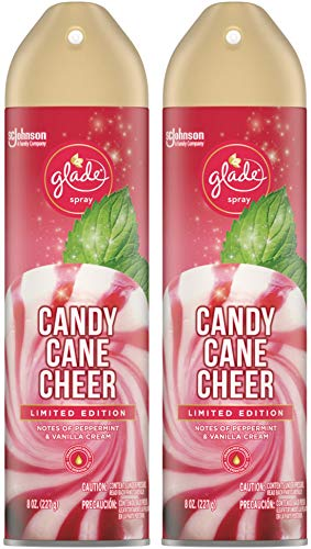 Glade Air Freshener Spray - Candy Cane Cheer - Holiday Collection 2020 - Net Wt. 8 OZ (227 g) Per Can - Pack of 2 Cans