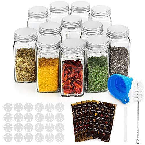 RUBY Bote Especias Cristal Botes Especieros 120ML Tarros Especias Set Etiquetas Botes...