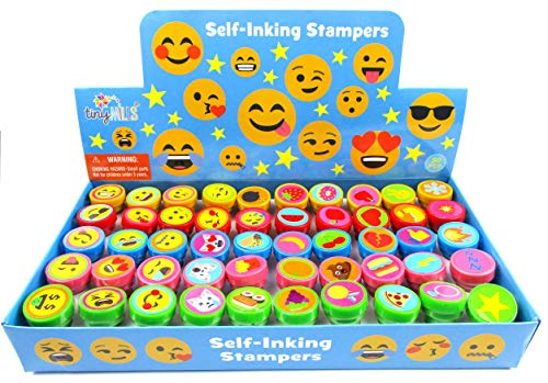Tiny Mills 50 Pcs Emoji Assorted Stamps for Kids Self-Ink Stamps (50 DIFFERENT Designs) for Emoji Themed Birthday Party Favors,Goodie Bag Pinata Fillers, Game Prizes, Classroom Rewards, Teacher Stamps