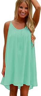 Spaghetti Strap Sundress Beach Cover Up Loose Tank Regular Plus Size Short Dresses Zulmaliu