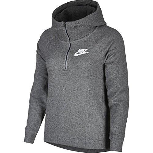 Nike–Felpa con Cappuccio Advance 15Felpa con Cappuccio, Donna, Sportswear Advance 15 Hoodie, Charcoal Heathr/Whit, L
