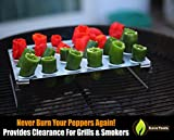 Jalapeno Grill Rack & Pepper Corer Tool - Large 24 Capacity Roaster - Holder Also For Cooking Chili or Chicken Legs & Wings Roasting on BBQ Smoker or Oven - Dishwasher Safe Stainless Steel Accessories
