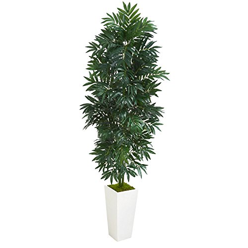 Nearly Natural 5' Bamboo Palm White Planter Artificial Plant, Green