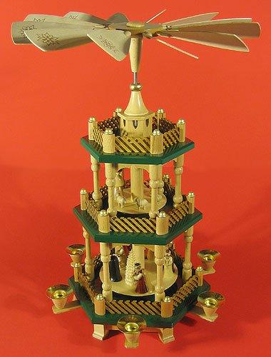 Richard Glässer Seiffen German christmas pyramid Nativity scene, 2-tier, height 40 cm / 16 inch, original Erzgebirge by Richard Glaesser Seiffen