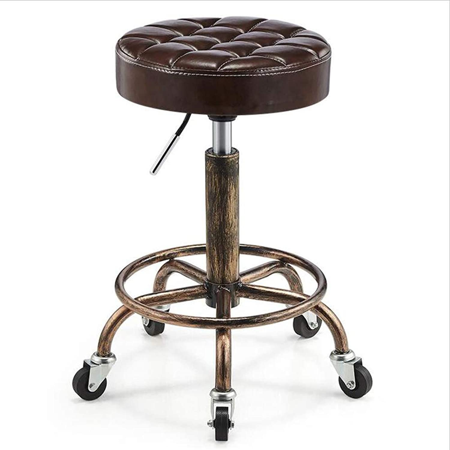 Dining Chairs Seat Chair Pentagonal Pulley Rebar Height Adjustable Lift Make Up Hair Salon Hairdressing Beauty FENPING (color   B-Brown)
