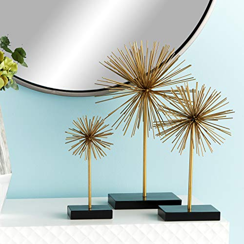 """CosmoLiving by Cosmopolitan 50384 Tall Contemporary Style 3D Round Gold Metal Starburst Sculptures on Black Stands 