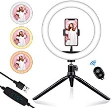 GSBLUNIE 10'' Selfie Ring Light with Tripod Stand, Video Ring Light Cell Phone Holder LED Make Up Light with 3 Light Modes and 11 Brightness for Camera Smartphone YouTube Video Live Streaming