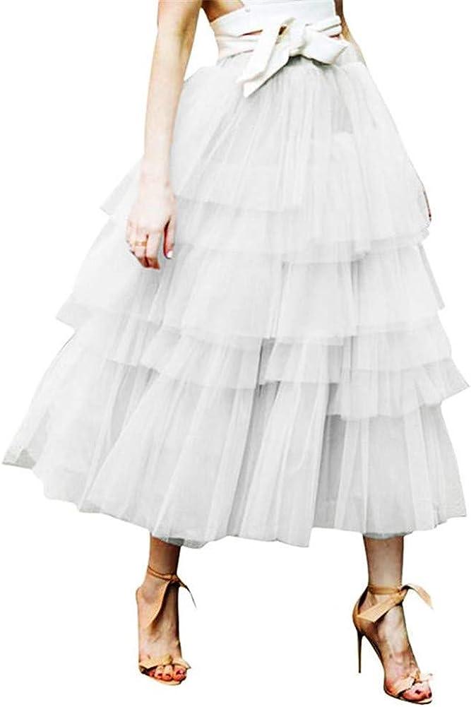 Meowmming Women's Elastic Waist Tiered Layered Mesh Tulle Tutu A-line Midi Skirt