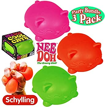 Schylling NeeDoh Cool Cats The Groovy Glob! Squishy Squeezy Stretchy Stress Balls Green Orange & Pink Complete Gift Set Party Bundle - 3 Pack