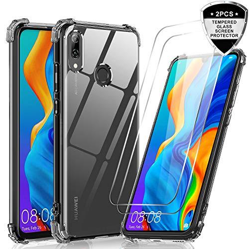 LeYi Hülle für Huawei P Smart 2019 / Honor 10 Lite Mit [2 Stück] Panzerglas,Durchsichtig Stoßfest Handyhülle Transparent Silikon Schutzhülle Slim TPU Bumper Armor Case für Handy P Smart 2019 Schwarz