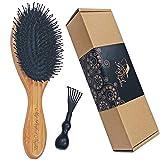Hair Brush Natural Boar Bristle Bamboo Hairbrush Detangling Nylon Pins with...