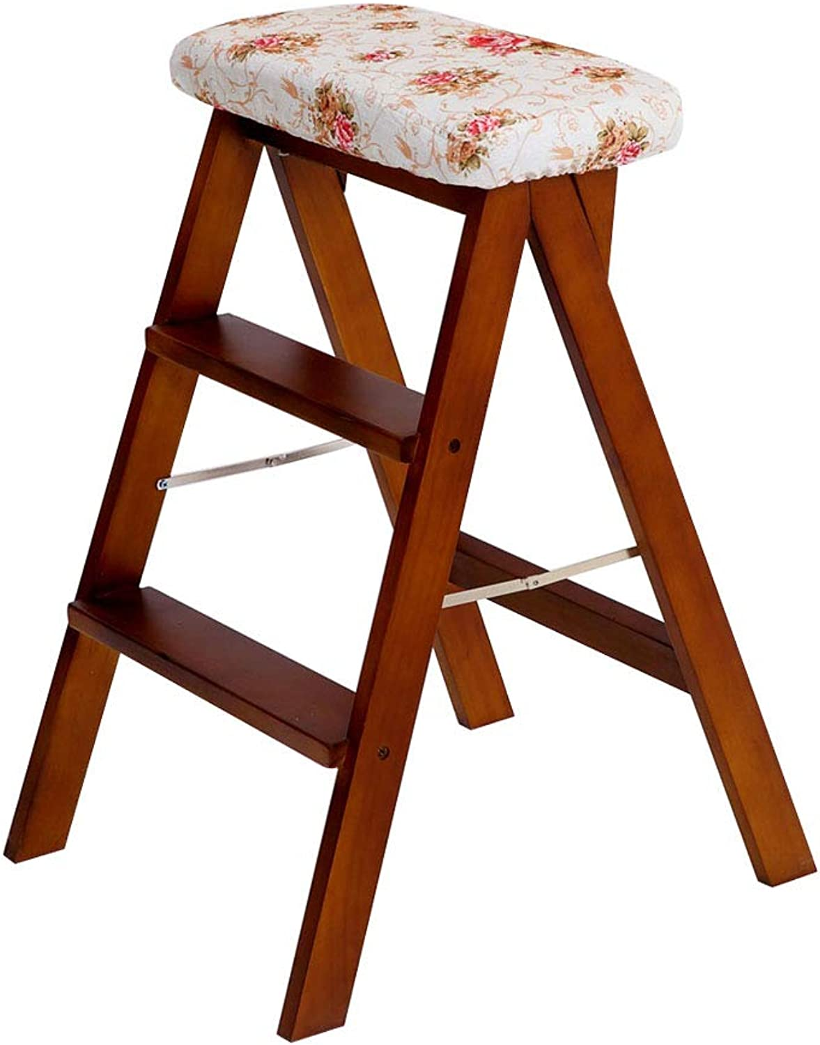 Portable Step Stool, Solid Wood Folding Step Stool Step Ladder, Indoor Multi-Function Chair - Bearing Weight 100kg, for Home Garden Office Kitchen Garage