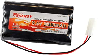 Tenergy NiMH Battery Pack 9.6V 2000mAh High Capacity Rechargeable RC Battery with Standard Tamiya Connector for RC Car, Robots, Security